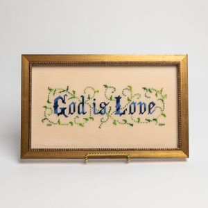God is Love Framed Cross-Stitch
