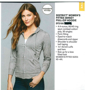 District Jersey Full-Zip Hoodie Ladies Heather Grey