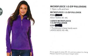 Port Authority Microfleece 1/2 Zip Pullover Ladies White
