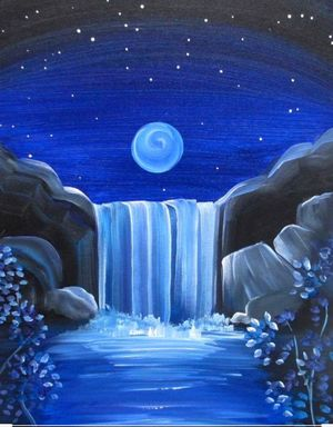 Cocktails & Creations: Galaxy Waterfall - Acrylic on Canvas