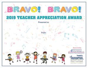 TA Bravo! Bravo! Certificate