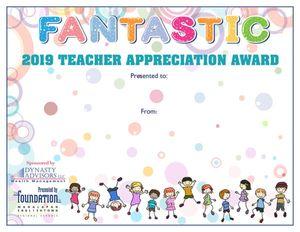 TA Fantastic Certificate