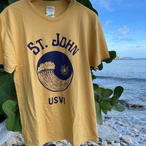 Ocean Wave Golden Yellow Mens T-Shirt
