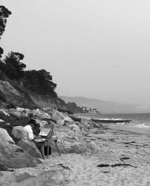 Beach Scene in Black and White
