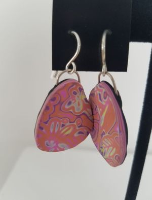 Pink Groovy Polymer Clay Earrings
