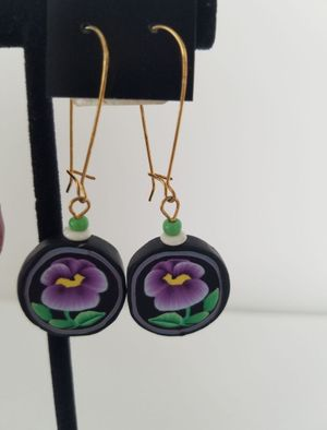 Polymer Clay Pansy Earrings