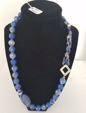 Blue Agate & Wire Linked Necklace