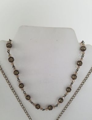 Gold Pearl & Crystal Necklace
