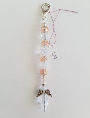 Key Fob - Pink & White Crystal Angel