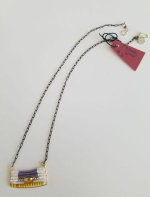 White & Purple Bead Necklace