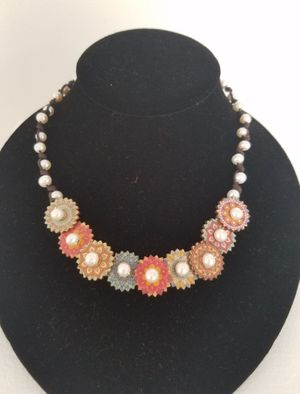 Pearl on Wood Leather Necklace