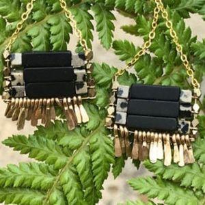 Carmine Onyx/Jasper Gold Earrings