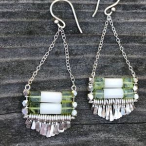 Carmine Coral/Peridot Silver Earrings