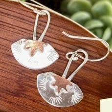 Sterling & Copper Star Fan Earrings