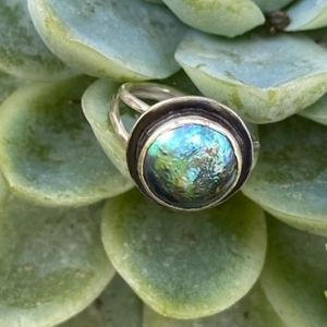 Sterling & New Zealand Paua Blister Pearl Ring