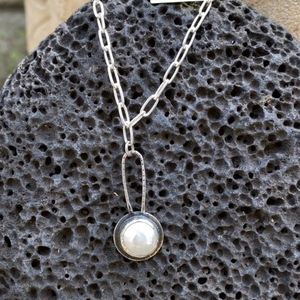 Sterling & Coin Pearl Pendant