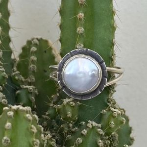 Sterling and Coin Pearl Ring