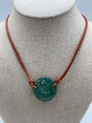 Leather & Roman Glass Necklace