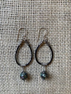 Leather & Abalone Earrings