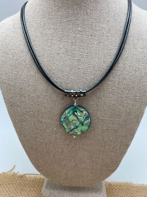 Leather & Abalone Necklace
