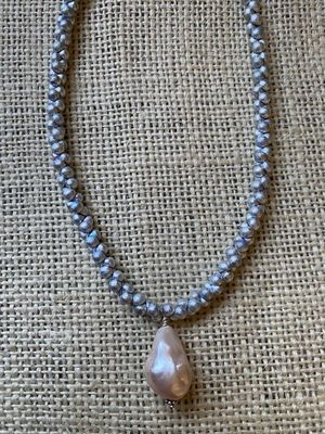 Grey Glass & Pink Freshwater Pearl Necklace
