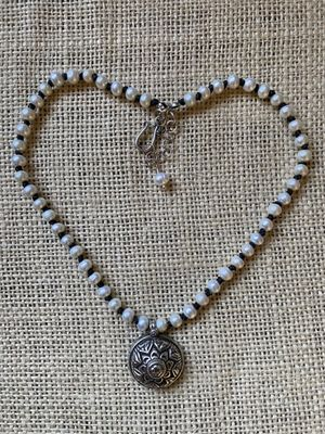 Linen Knotted Pearl & Silver Pendant