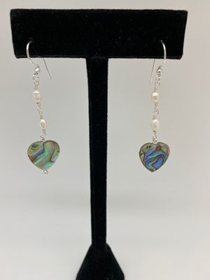 Heart Abalone Earrings