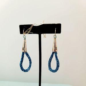 Viking Knit Tear Drop Earrings, Turquoise