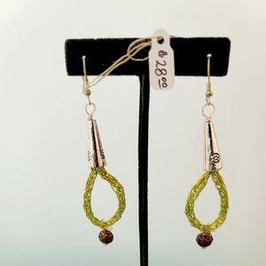 Viking Knit Tear Drop Earrings, Lime