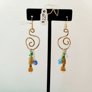 Curly Q Brass Wire Wrap Earring
