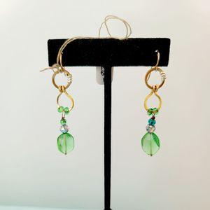 Brass Chain & Glass Bead Earrings