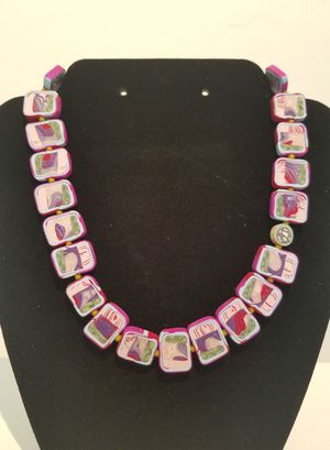 Windowpane Necklace-Purple Red Pink