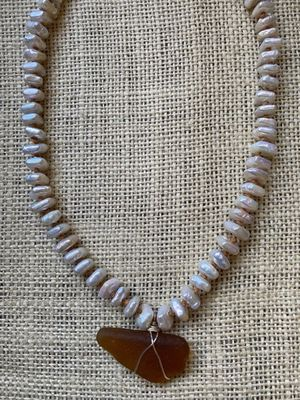 Sea Glass and Pearl Necklace