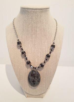 Labradorite, Obsidian & Crystal Necklace