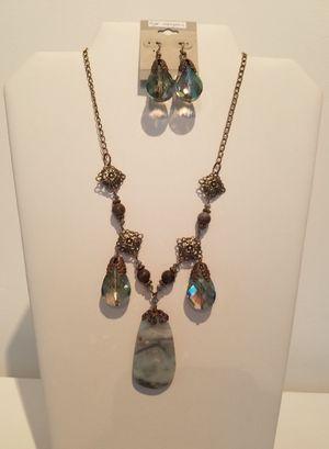 NECKLACE: Amazonite, Jasper, Crystal