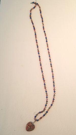 Multi-Color Pearl Necklace-Heart Pendant
