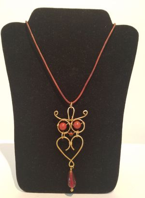 Gold Owl Pendant On Leather Cord