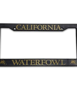 Plastic License Plate Frame - Gold Lettering
